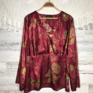 Lane Bryant floral silky blouse plus size